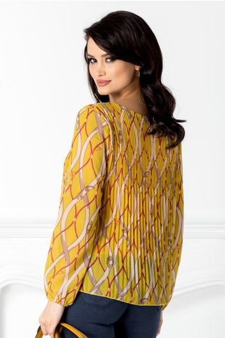 Bluza galbena plisata cu imprimeuri