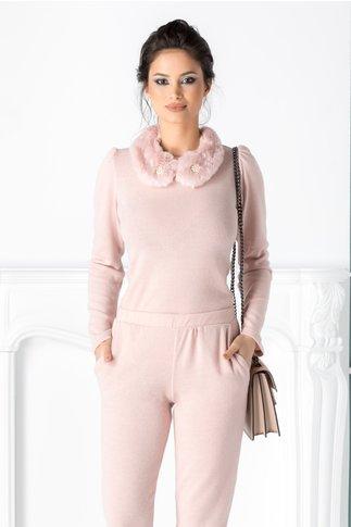 Bluza Galina roz pal cu guler din blanita