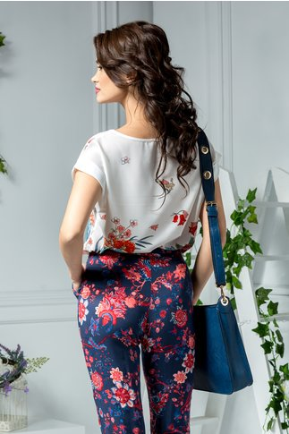 Bluza Gardenia alba cu imprimeu floral rosu