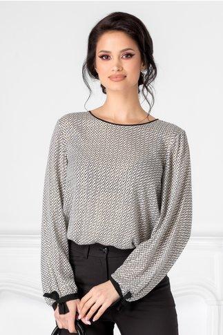 Bluza Ginette alb cu imprimeu in zig-zag negru