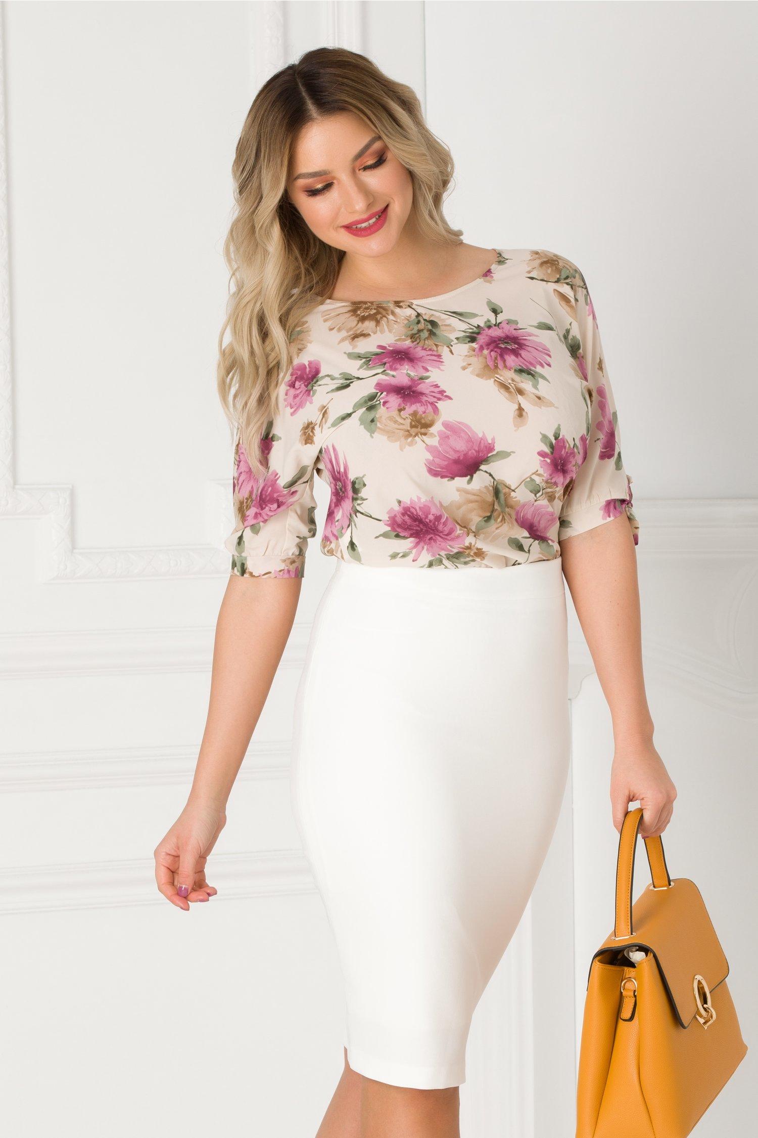 Bluza Ginette bej cu imprimeu floral mov si maro
