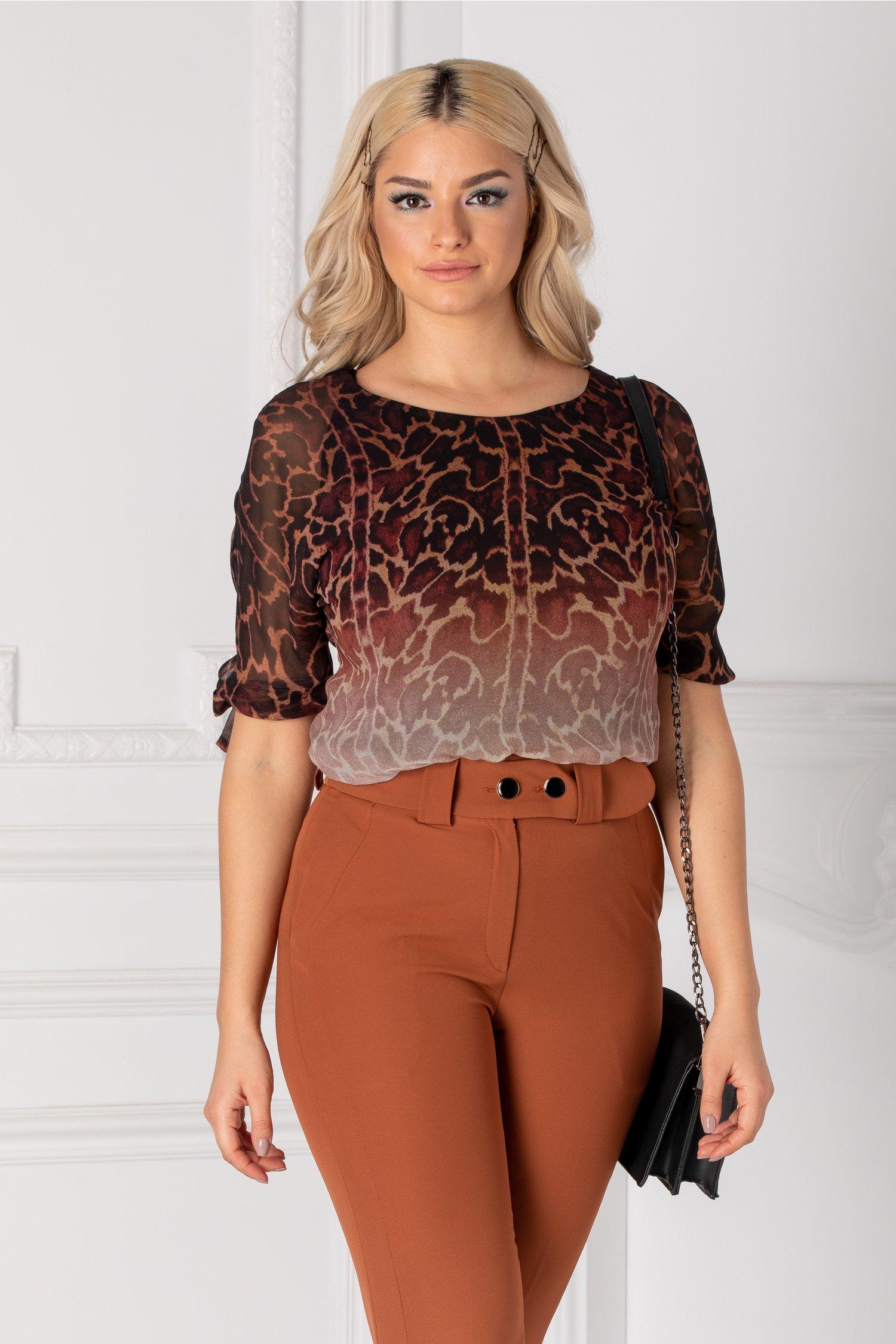 Bluza Ginette cu maneci trei sferturi si imprimeu in degrade