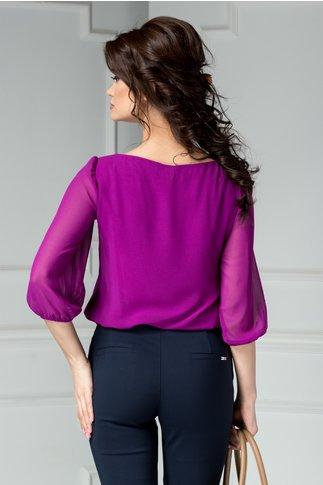 Bluza Ginette mov din voal cu aplicatii