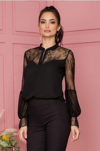 Bluza Ginette neagra cu dantela
