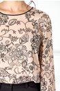 Bluza Ginette roz-somon cu imprimeu floral negru