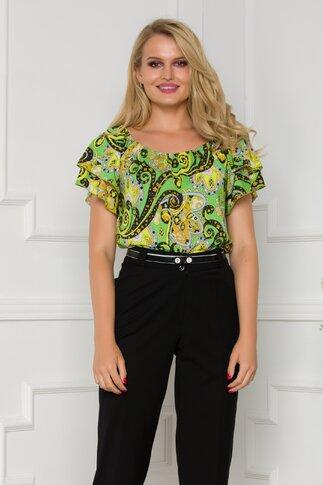 Bluza Ginette verde cu imprimeuri florale si elastic la decolteu
