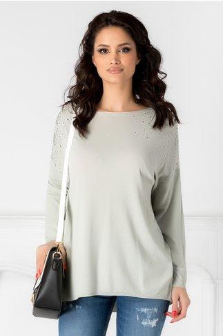 Bluza gri cu aplicatii din dantela la umeri