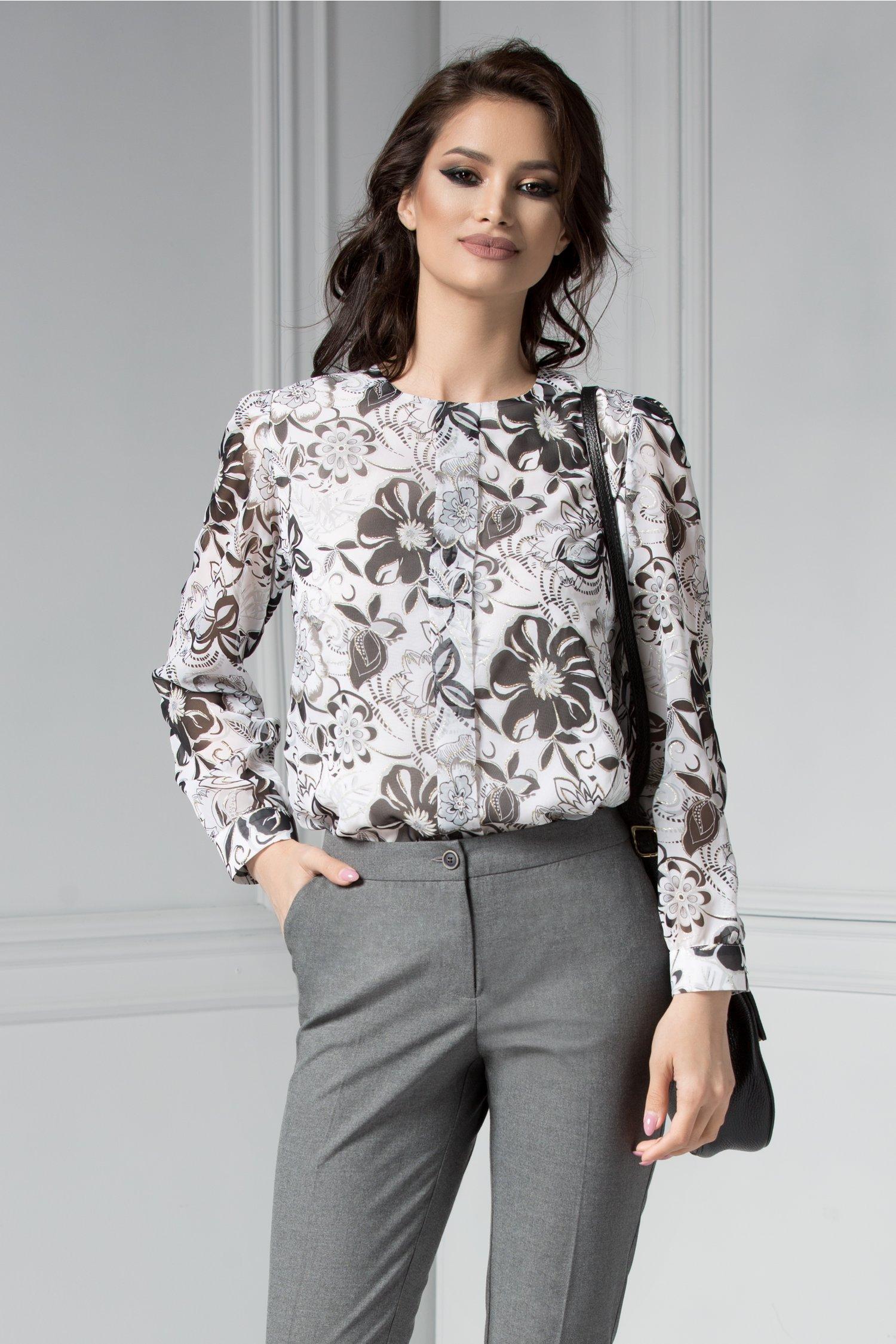 Bluza Harald cu imprimeuri florale gri