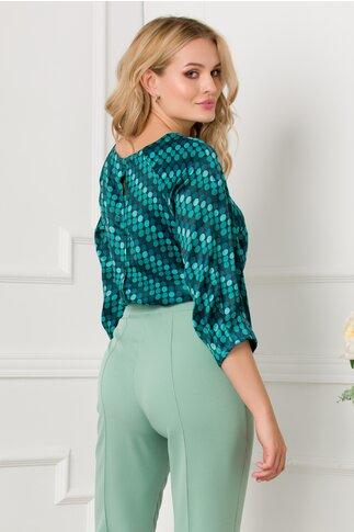 Bluza Hera cu buline in nuante de verde