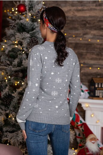 Bluza Holiday gri cu imprimeu de iarna