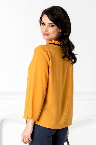 Bluza Horesa galben mustar cu volane la guler