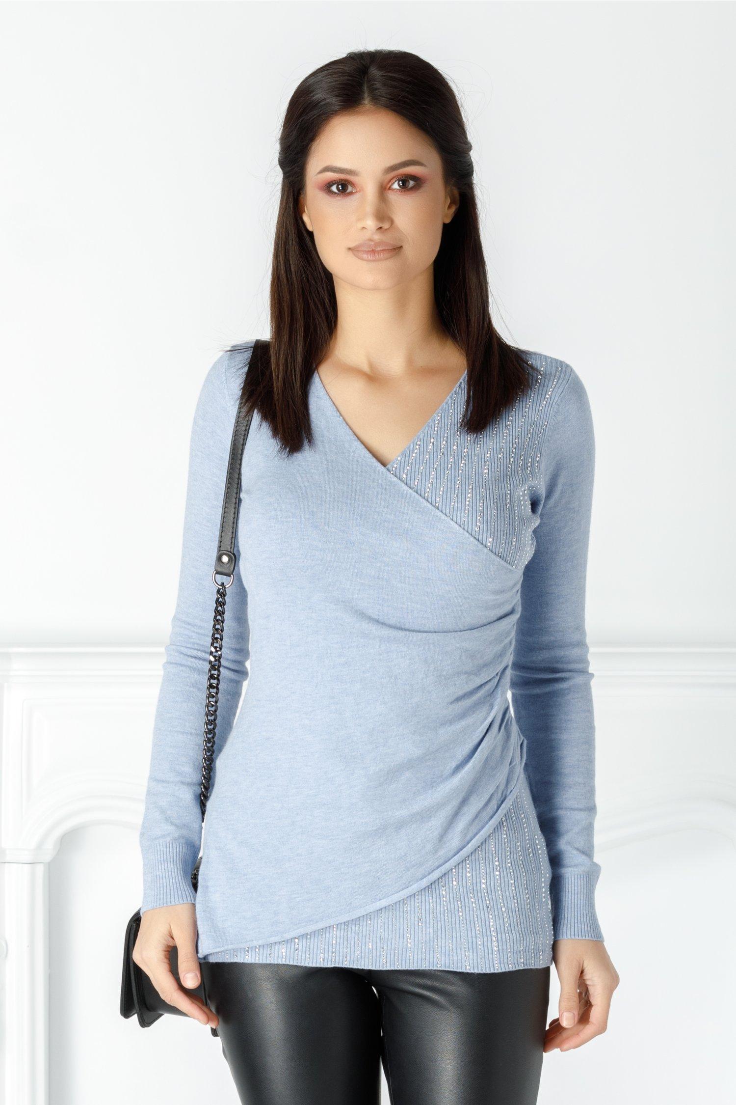 Bluza Irina bleu cu strasuri petrecuta