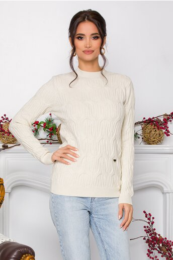 Bluza Irina ivory din tricot cu model in relief