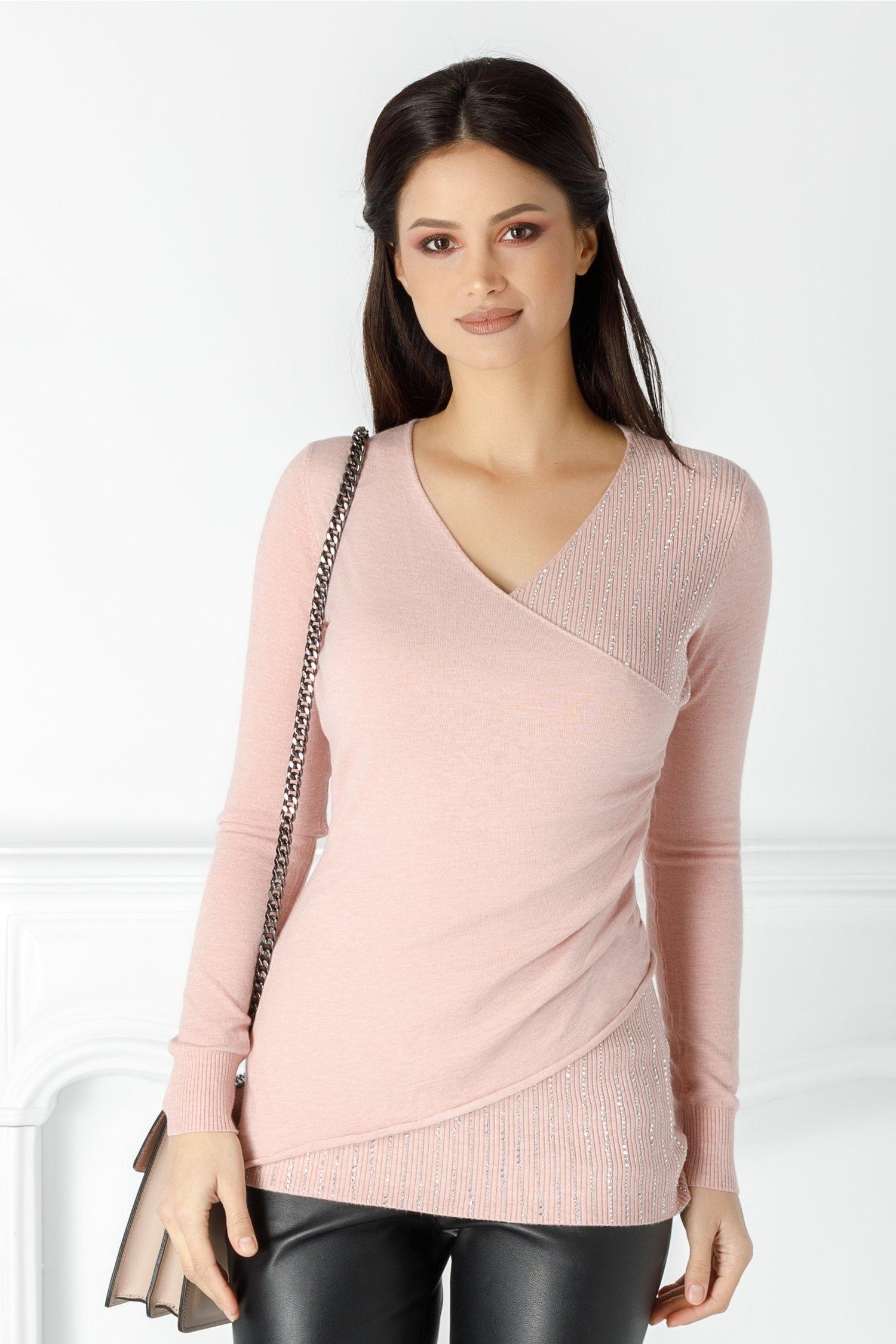Bluza Irina roz pal cu strasuri petrecuta