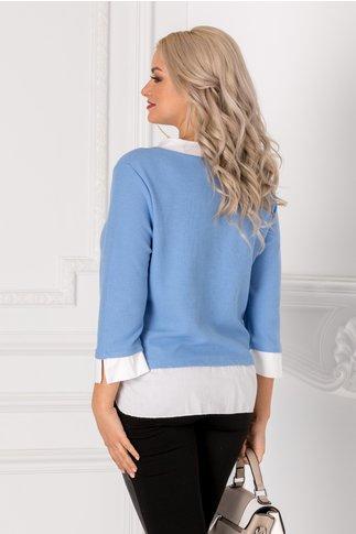 Bluza Iriza bleu cu guler si mansete albe