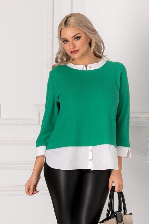 Bluza Iriza verde cu guler si mansete albe