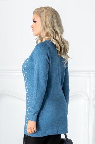 Bluza Irma albastra cu aplicatii din perlute