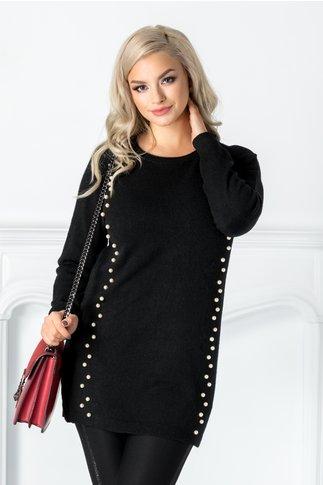 Bluza Irma neagra cu aplicatii din perlute