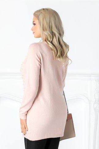 Bluza Irma roz cu aplicatii din perlute