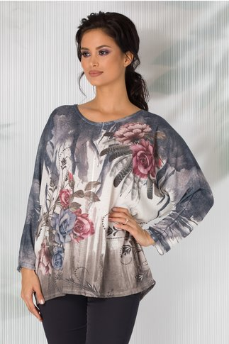 Bluza Iulia cu imprimeu bleumarin si trandafiri