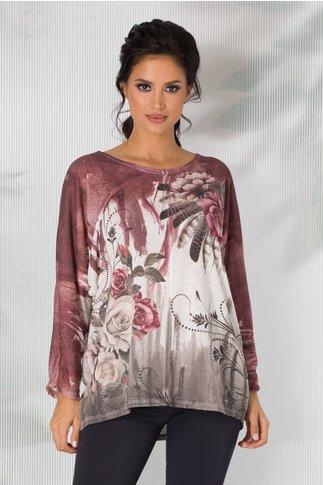 Bluza Iulia cu imprimeu bordo si trandafiri