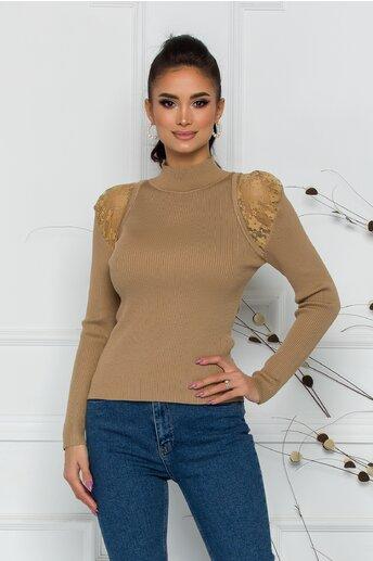 Bluza Iuliana bej din tricot reiat cu insertii din dantela transparenta la umeri