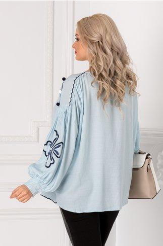 Bluza Ivona bleu cu broderie si ciucuri