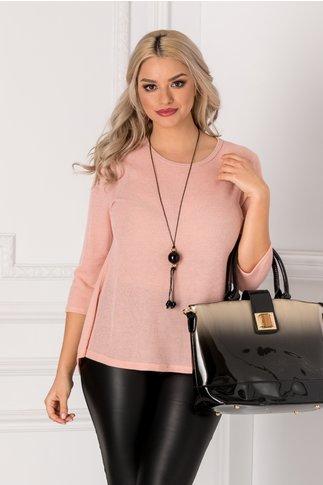 Bluza Ivy roz cu dantela si funda la spate