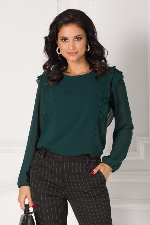 Bluza Jannine verde cu volanase