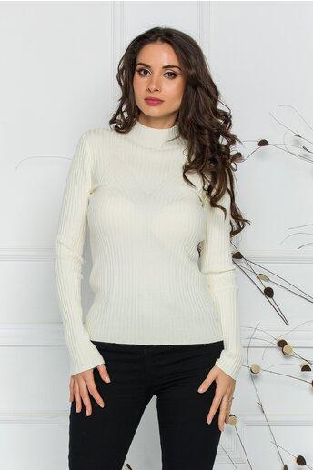 Bluza Jenifer alba din tricot reiat