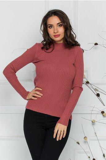 Bluza Jenifer roz coniac din tricot reiat