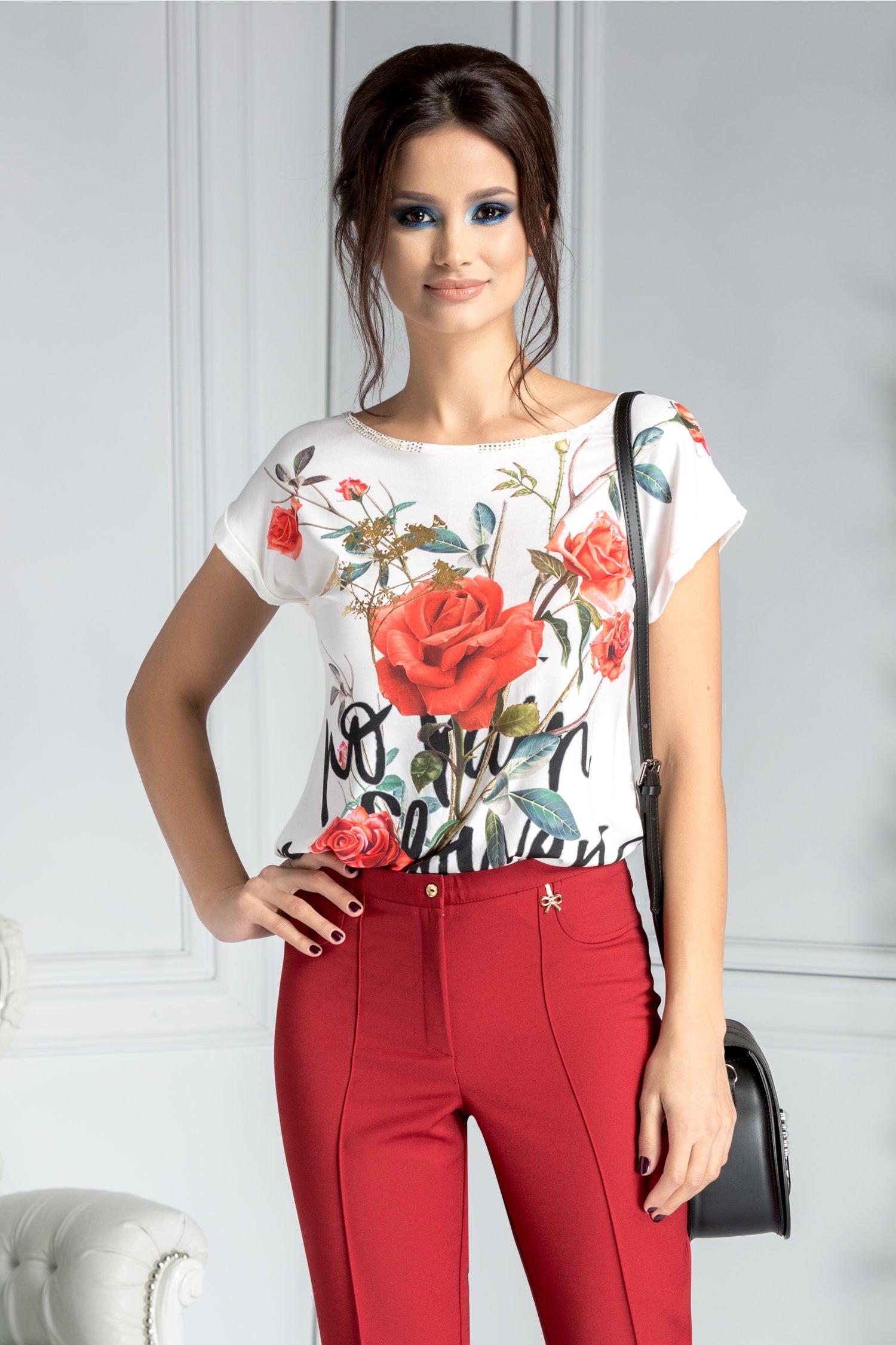 Bluza Jolen casual cu trandafiri