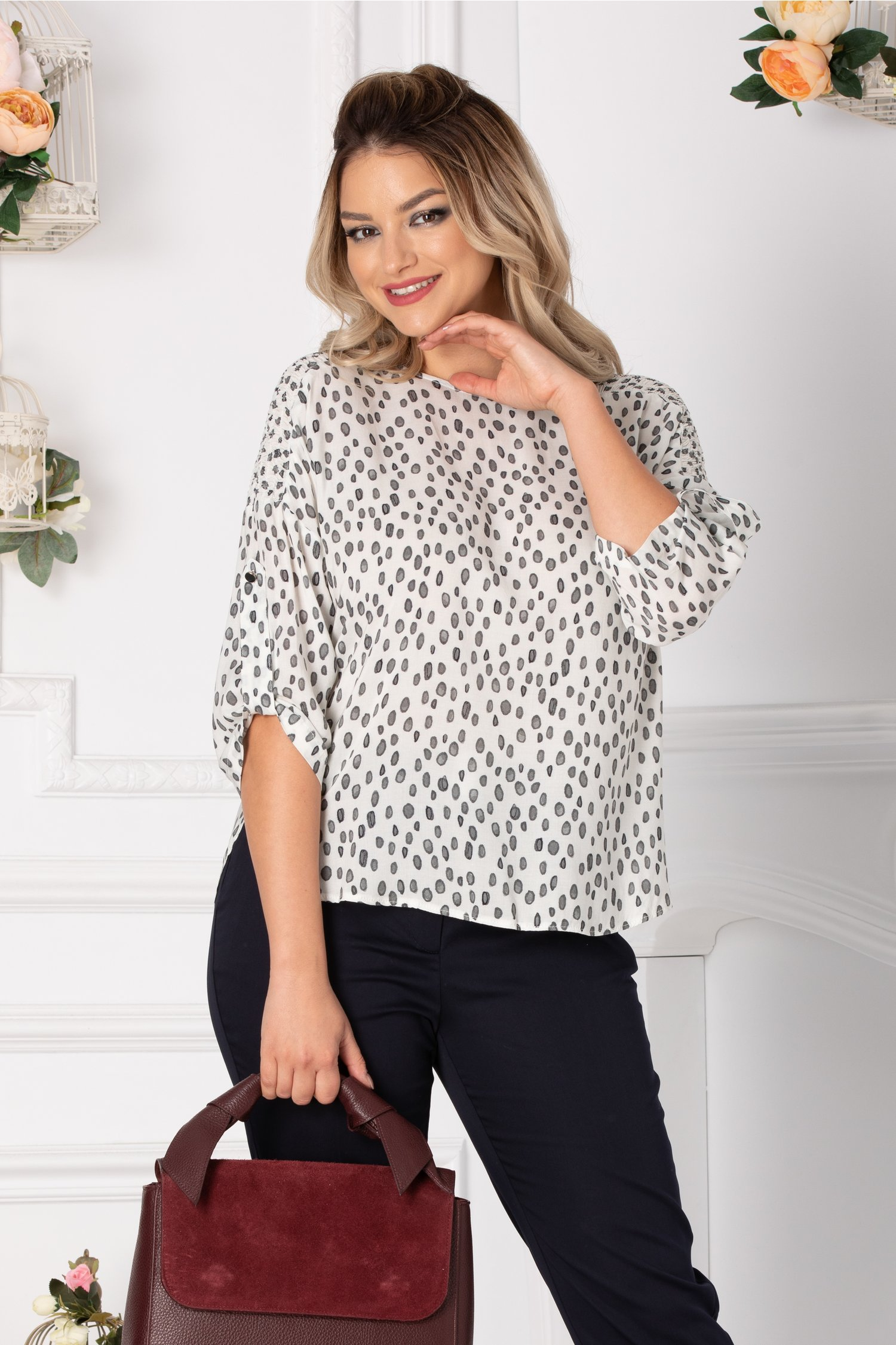Bluza Jolly casual cu imprimeu gri