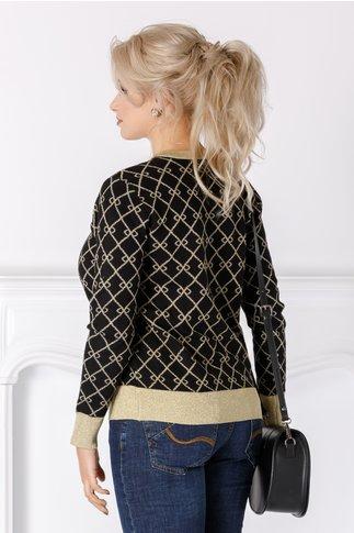 Bluza Kari neagra cu insertii aurii
