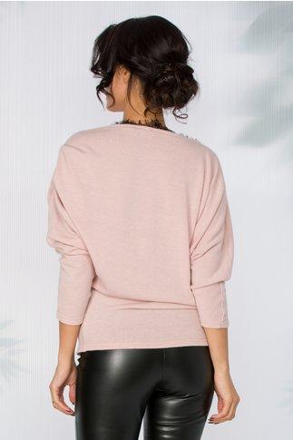 Bluza Karol roz prafuit asimetrica