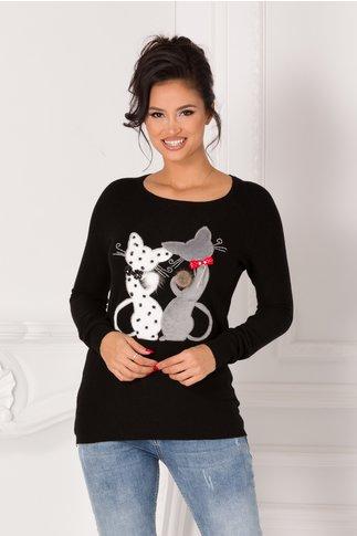 Bluza Kary neagra cu pisici si aplicatii din margele