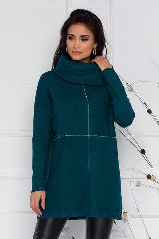 Bluza Katia lunga verde petrol cu guler maxi si strasuri