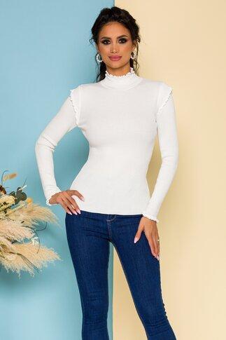 Bluza Katy ivoire accesorizata cu volanase discrete