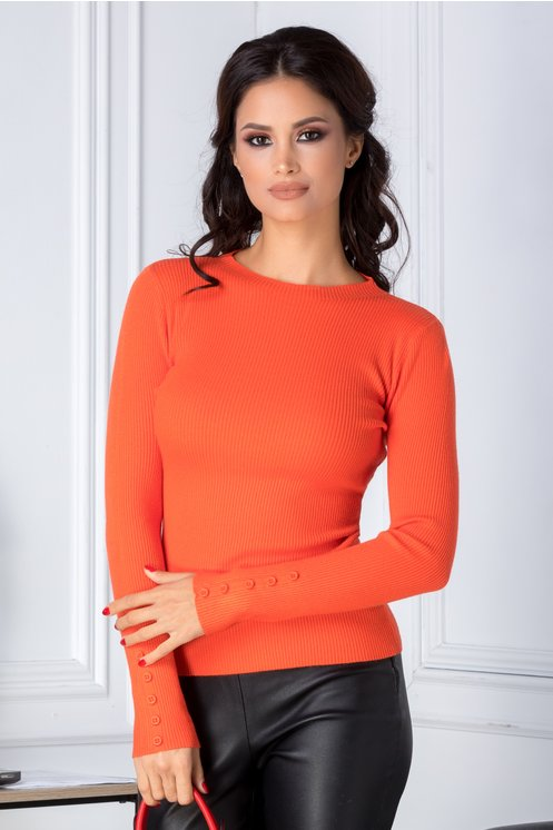 Bluza Katy orange cu nasturi la maneci
