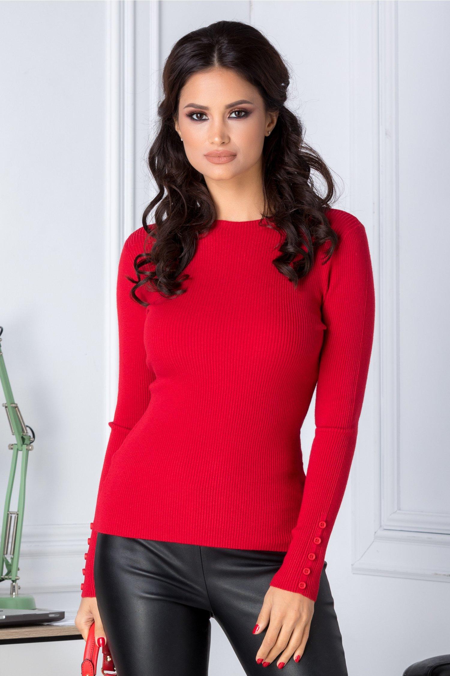 Bluza Katy rosie cu nasturi la maneci