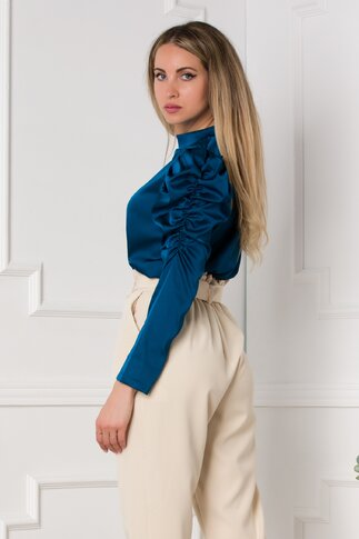 Bluza Kayle albastru petrol cu fronseu la maneci
