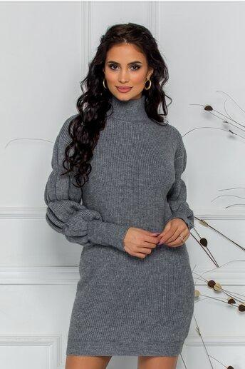 Bluza Kim gri din tricot cu design incretit la maneci