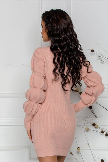 Bluza Kim roz din tricot cu design incretit la maneci