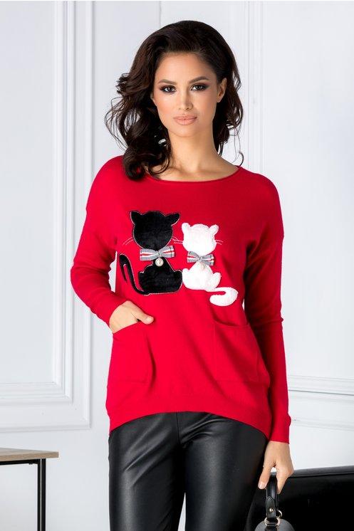 Bluza Kitti rosie cu pisicute si buzunare