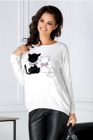 Bluza Kitty alba cu pisicute si buzunare