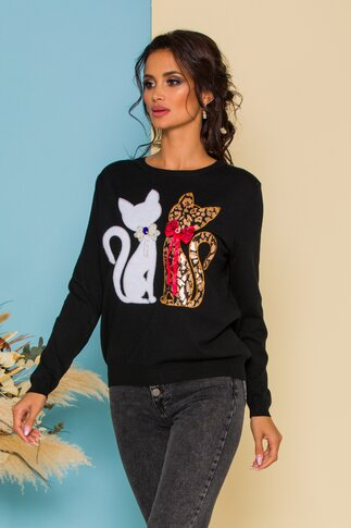 Bluza Kitty din jerse neagra cu aplicatii tip pisici