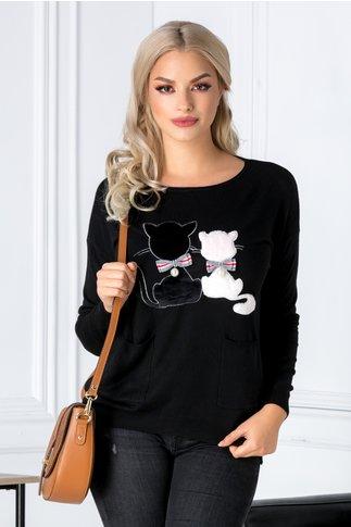 Bluza Kitty neagra cu pisicute si buzunare