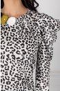 Bluza LaDonna alba cu animal print si floare galbena