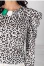 Bluza LaDonna alba cu animal print si floare verde