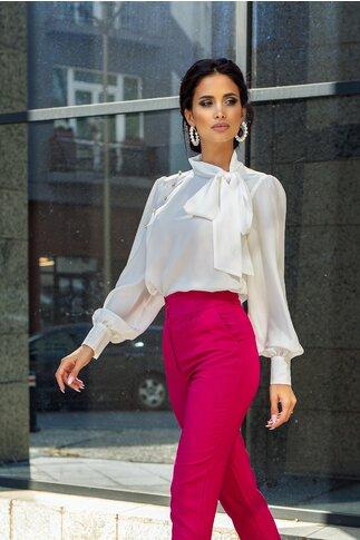Bluza LaDonna alba cu detaliu stil esarfa la guler si nasturi decorativi tip bijuterie